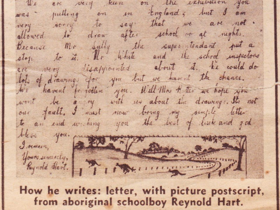 Part of a letter from Reynold Hart to Mrs Rutter which appeared in the Daily Graphic article 'Can Your Child Draw Like This?' in the UK on the 29th July 1950. Noel & Lily White Collection.