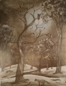Owl in moonlight by Keith Indich, pastel on paper, 25 x 19cm, c.1949. H. Kahan Collection, 1951, Berndt Museum of Anthropology. [WU5834]