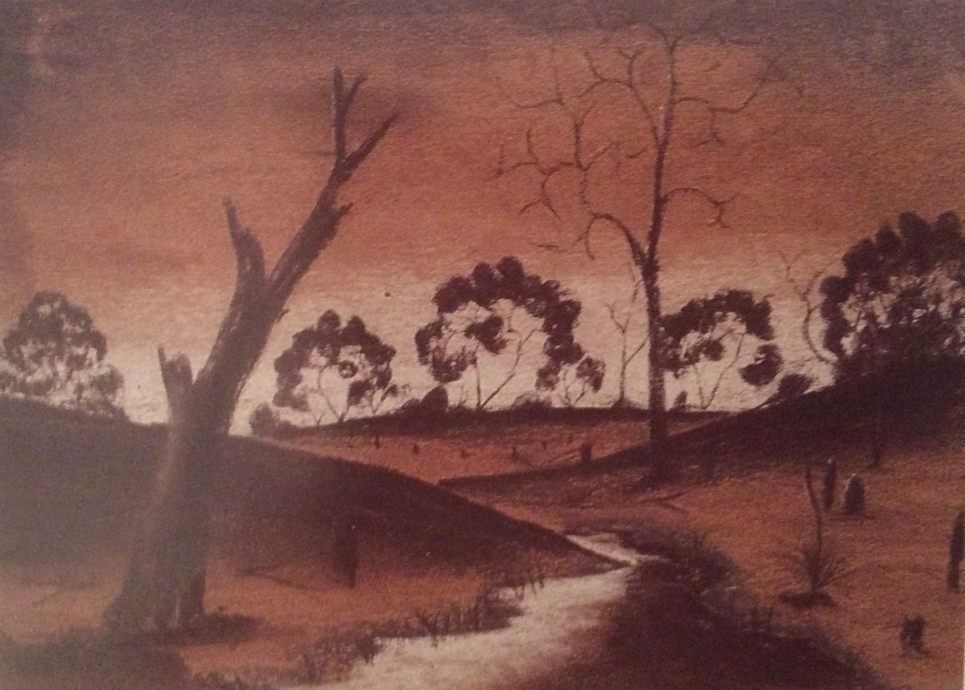 Golden sunset by Cliff Ryder, pastel on paper, 18 x 25cm, 1950. Stan, Melvie and Gael Phillips Collection 1947 - 65, Berndt Museum of Anthropology.