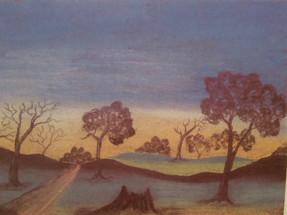 Landscape by Claude Kelly, pastel on paper, 18 x 25cm, c.1948. Stan, Melvie and Gael Phillips Collection, 1947 - 65, Berndt Museum of Anthropology.