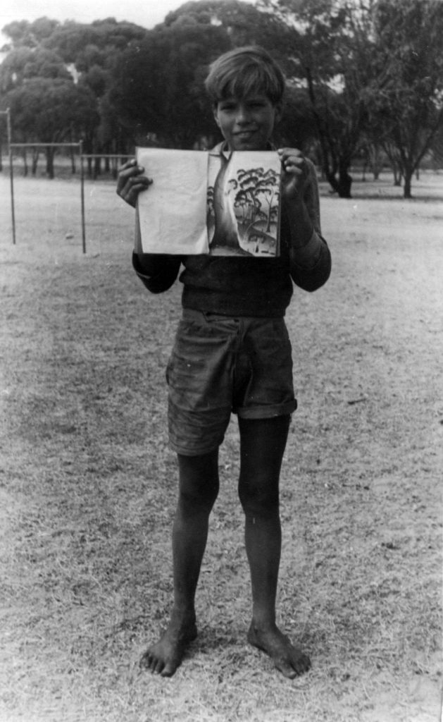 Ross Jones with his pastel drawing book. Photographer: Vera Hack, January 1950. Noel & Lily White Collection.