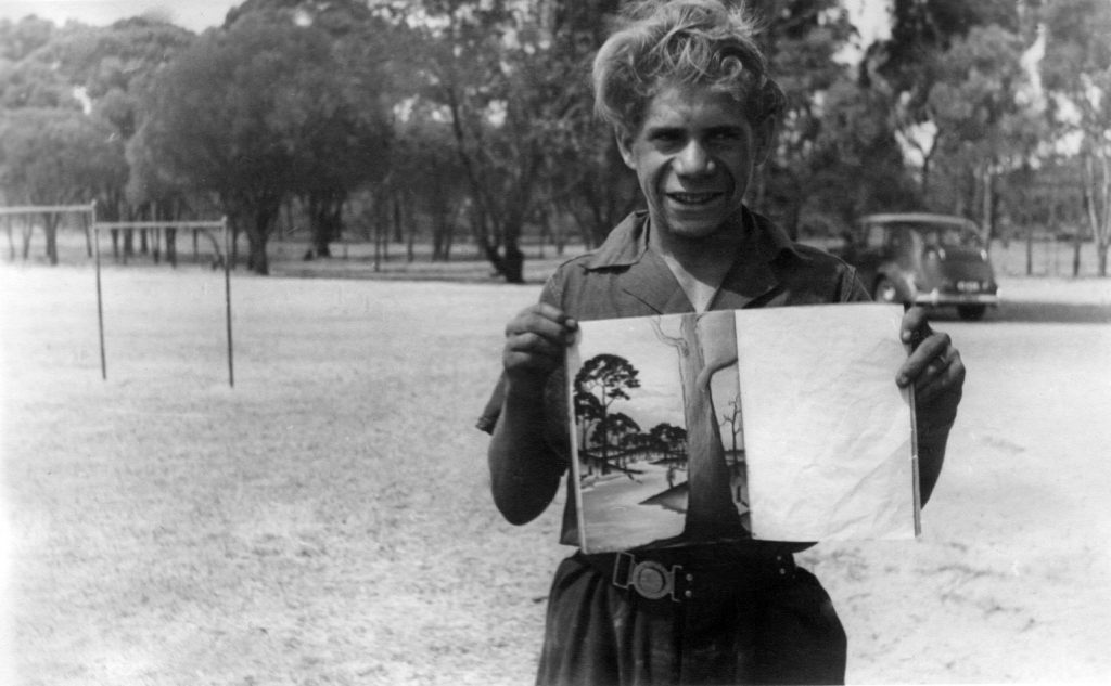 Parnell Dempster with his pastel drawing book. Photographer: Vera Hack, January 1950. Noel & Lily White Collection.