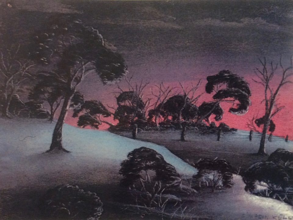 The Creek by Simpson Kelly, c1948, pastel on paper, 18.5 x 24 cm. Noel & Lily White Collection, Berndt Museum of Anthropology.