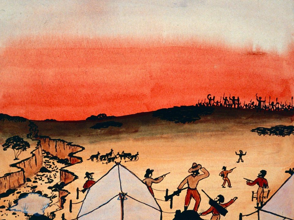 Explorer's massacre by Parnell Dempster, 1948, ink and watercolour on paper, 19 x 24cm. Stan, Melvie and Gael Phillips Collection, 1947 – 65, Berndt Museum of Anthropology.