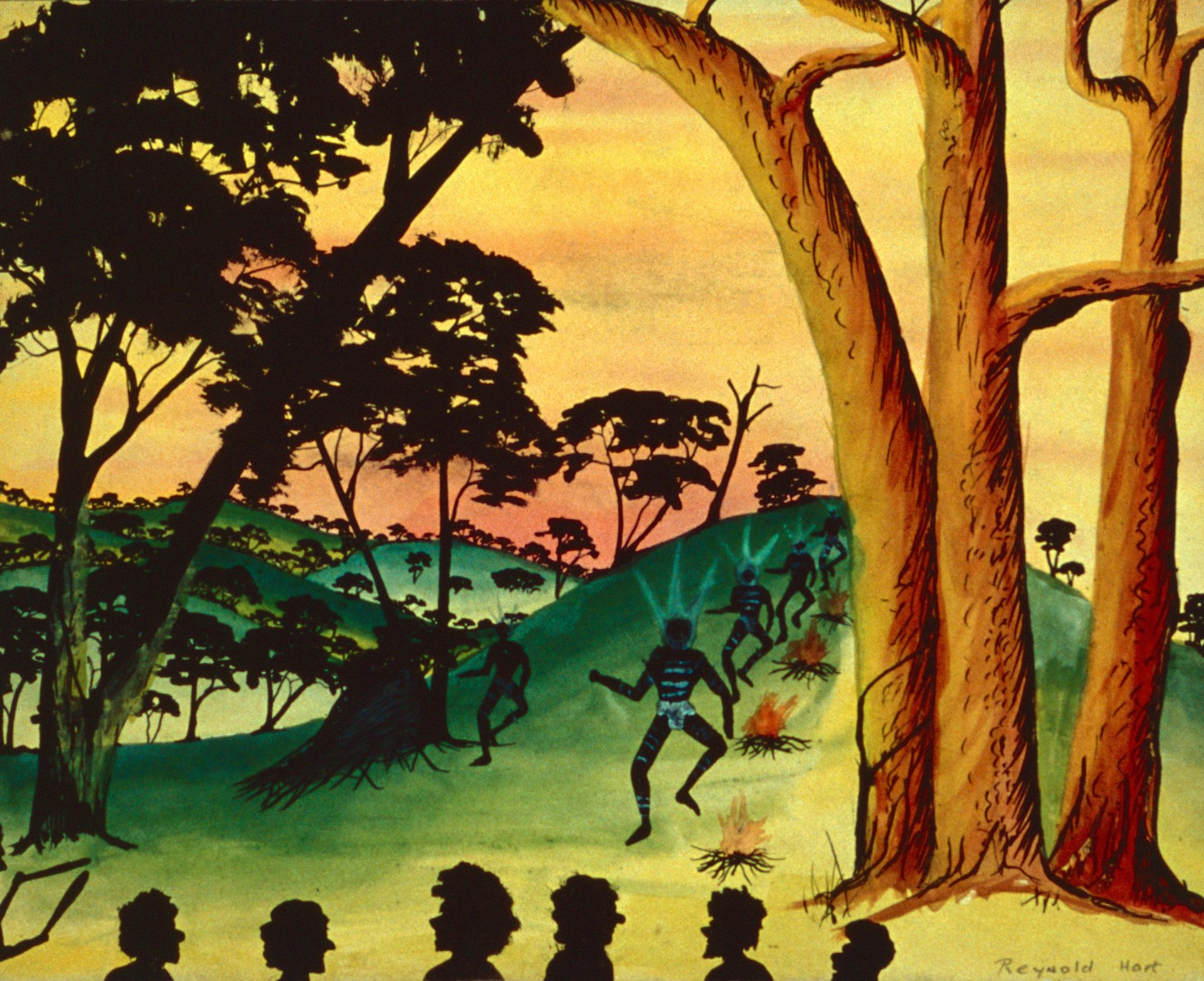 Imagined corroboree by Reynold Hart, watercolour and ink on paper, 25 x 30cm, c.1948. Stan, Melvie and Gael Phillips Collection, 1947 - 65, Berndt Museum of Anthropology. [WU7255]