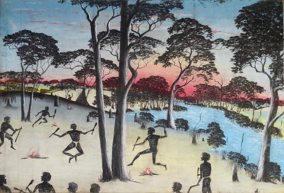 A Native Corroboree by Reynold Hart, pastel on paper, 75 x 112cm, 1949. The Herbert Mayer Collection of Carrolup Artwork, John Curtin Gallery, Curtin University.