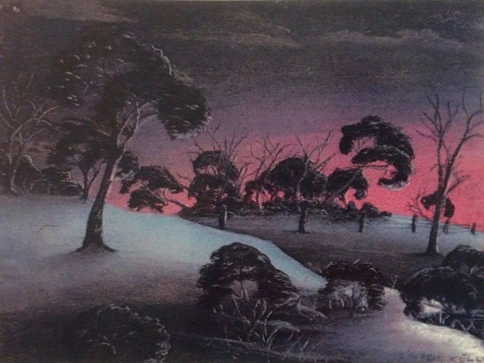 The creek by Simpson Kelly, pastel on paper, 18.5 x 24 cm, c.1948. Noel & Lily White Collection, Berndt Museum of Anthropology. [WU7563]