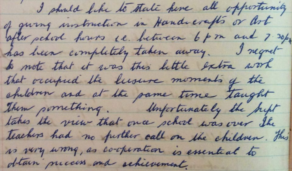 Excerpt from Mr White's School Journal , 5th May 1950. Noel & Lily White Collection.
