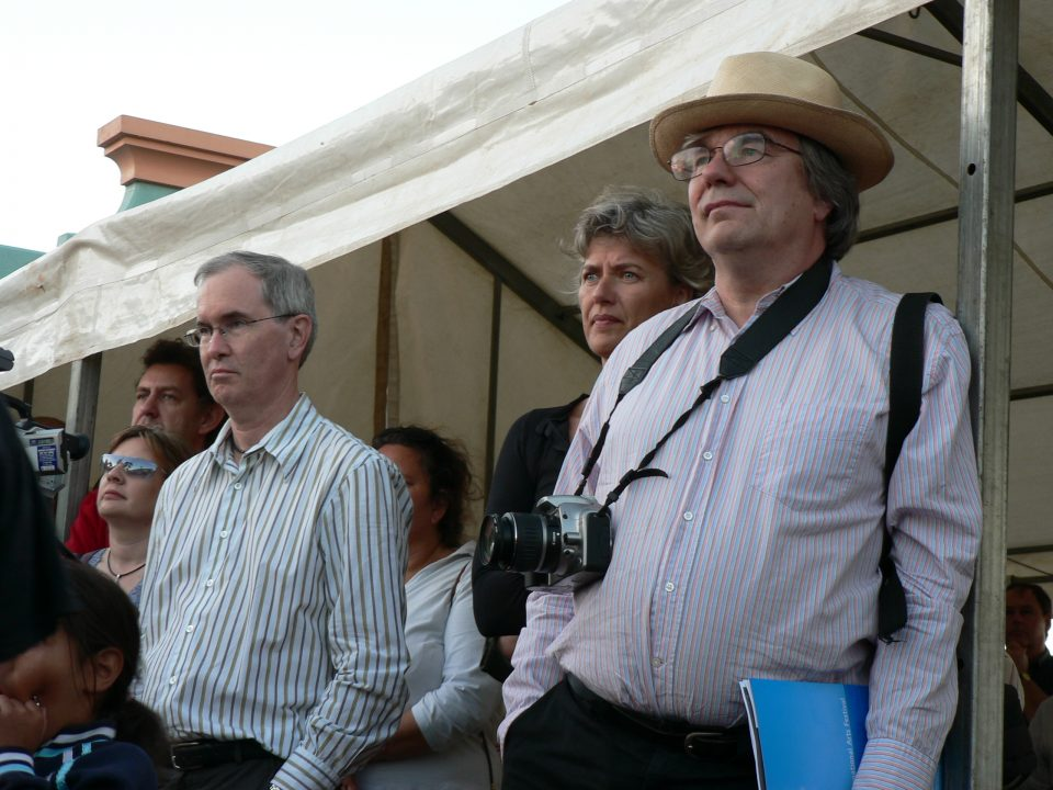 John Stanton (Berndt Museum) [Left Front] with Howard Morphy (Australian National University), who discovered the 'lost' works at Colgate University, watch the Official Opening of the 'Koorah Coolingah' exhibition at Katanning Art Gallery, 24th February 2006. Berndt Museum of Anthropology, The University of Western Australia.