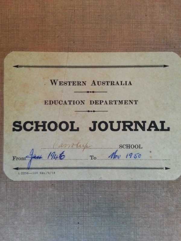 Cover of Carrolup School Journal containing notes made by teachers Olive Elliot (1945 - 1946) and Noel White (1946 - 1950). Noel & Lily White Collection.