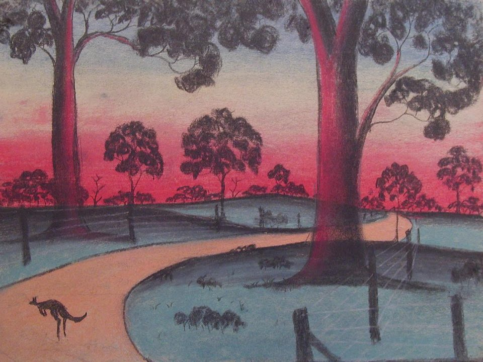 The Golden Road by an unidentified child artist from Carrolup, c1949. The image is from the Colgate University Flickr account described below. The drawing is part of the The Herbert Mayer Collection of Carrolup Artwork, John Curtin Gallery, Curtin University.