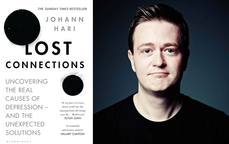 Johann Hari and his book Lost Connections: Uncovering the Real Causes of Depression - and the Unexpected Solutions. Image from crikey.com.au.