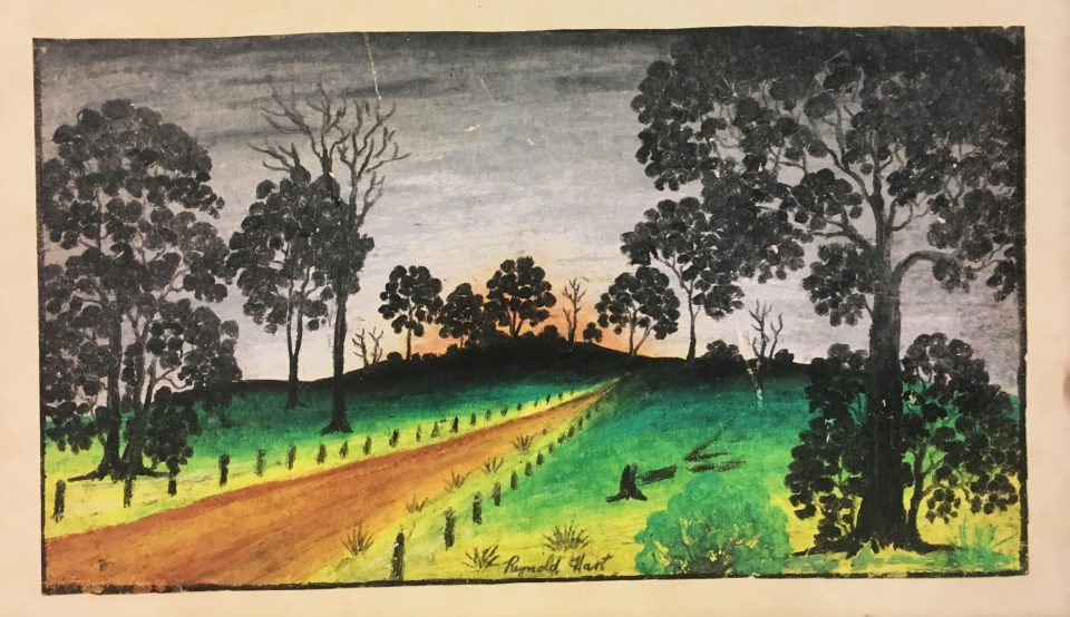 A pastel by Reynold Hart donated to the Berndt Museum by Timothy Dauth. This is likely The Red Road which was drawn in 1950 and was purchased at the 1957 Boans exhibition organised by the W.A. Native Welfare Council (Inc.).