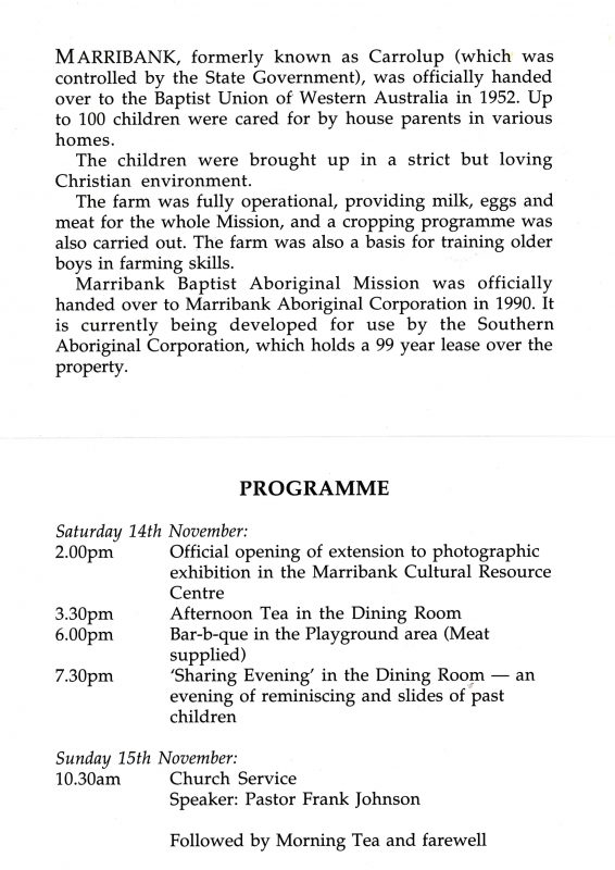 Background note and program for the 1992 Marribank Reunion.