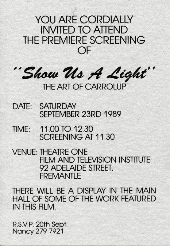Publicity for the premier of Show Us A Light.