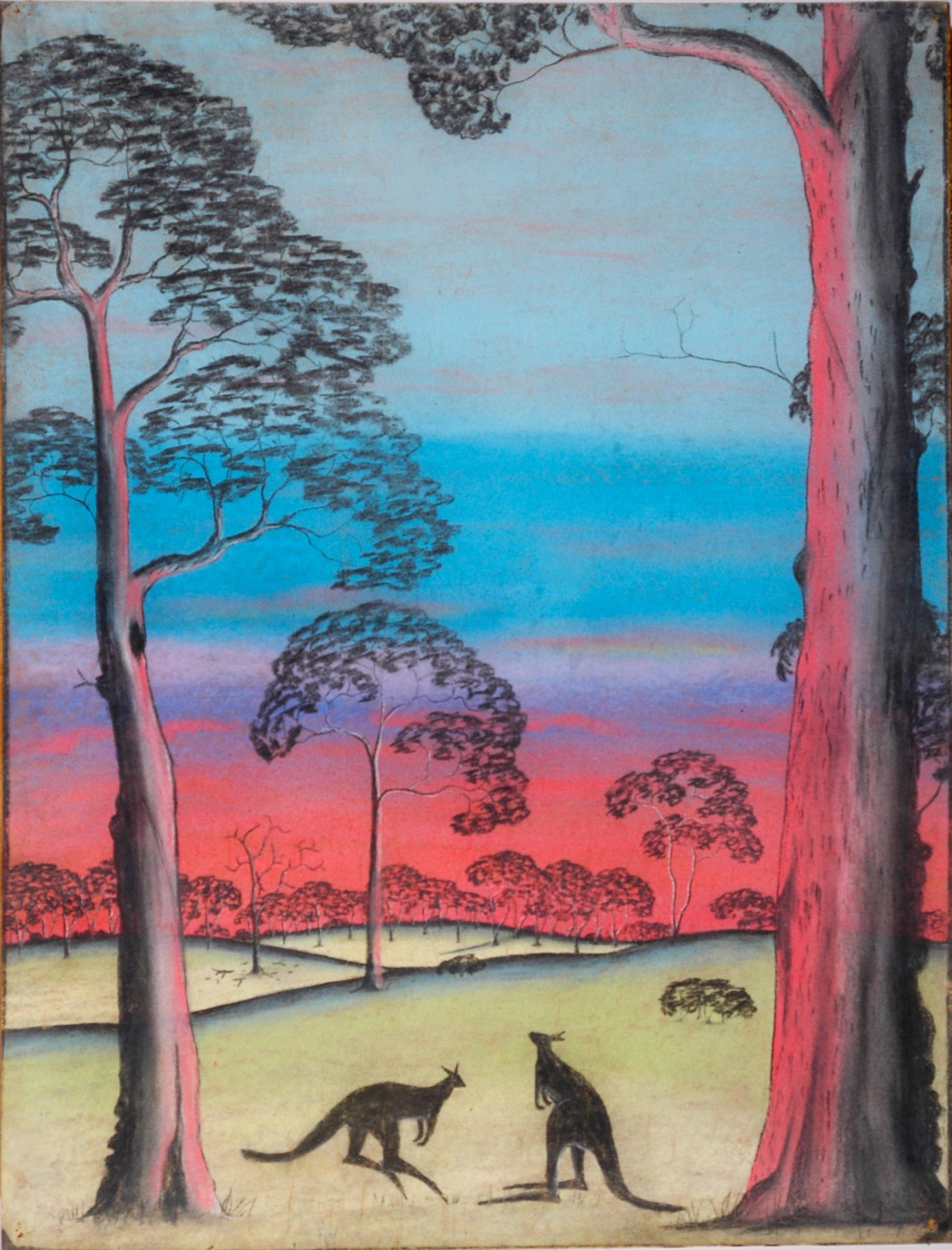 On the Alert by Barry Loo, pastel on paper, 76.2 x 58.7cm, c.1949. The Herbert Mayer Collection of Carrolup Artwork, John Curtin Gallery, Curtin University.
