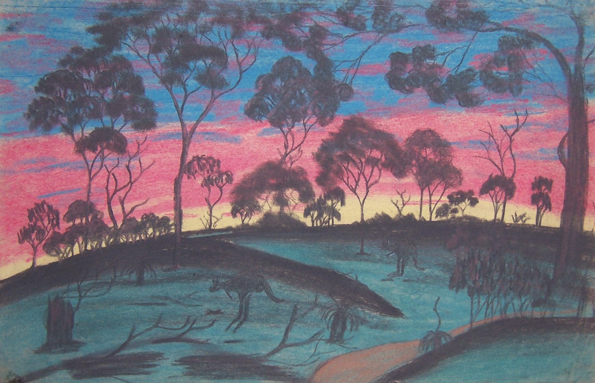 The Colours of the Setting Sun by Keith Indich, pastel and graphite on paper, 28.9 x 44.9cm, c.1949. The Herbert Mayer Collection of Carrolup Artwork, John Curtin Gallery, Curtin University.