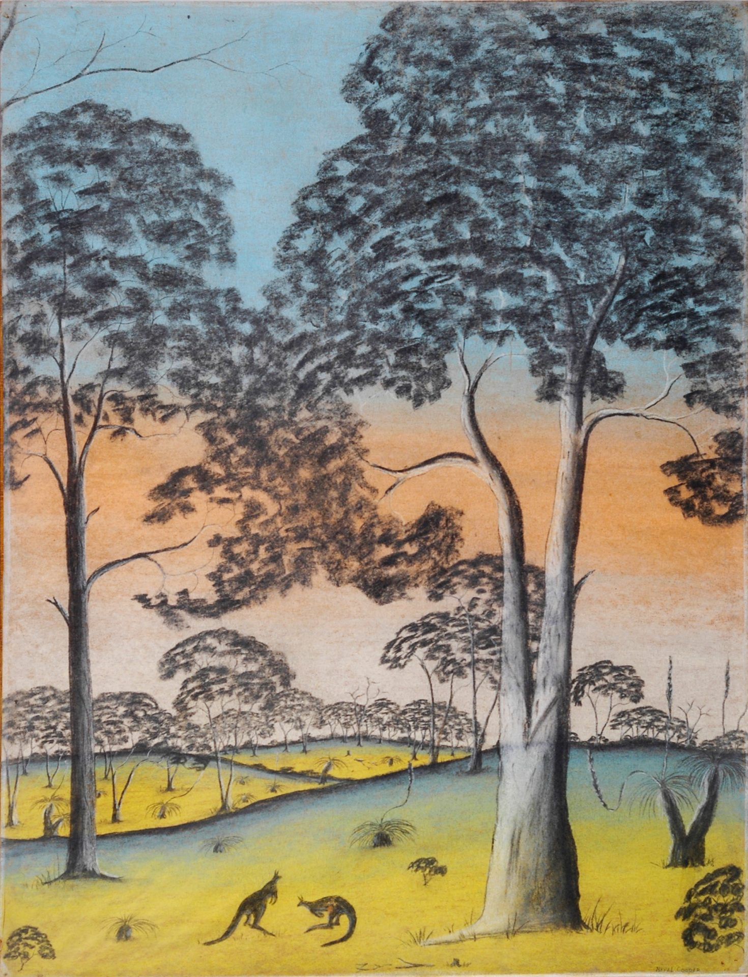 Contentment by Revel Cooper, pastel on paper, 76.3 x 58mm, c.1949. The Herbert Mayer Collection of Carrolup Artwork, John Curtin Gallery, Curtin University.
