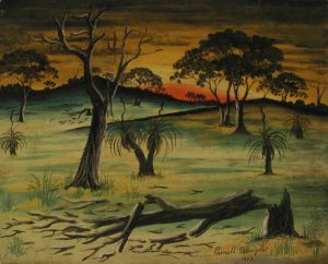 Untitled [Landscape with Fallen Tree] by Parnell Dempster, pastel and graphite on paper, 23 x 29.1cm, 1953. The Herbert Mayer Collection of Carrolup Artwork, John Curtin Gallery, Curtin University.