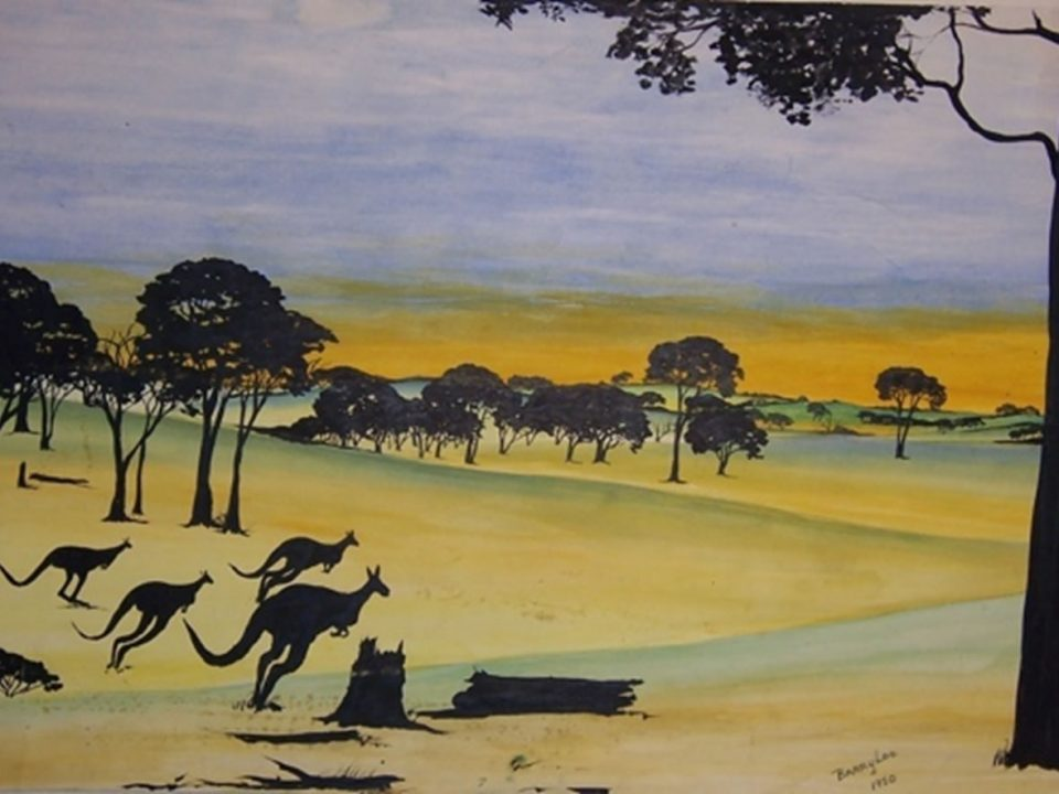Bounding for Home by Barry Loo, watercolour and black ink on paper, 30.2 x 50.5cm, 1950. The Herbert Mayer Collection of Carrolup Artwork, John Curtin Gallery, Curtin University.