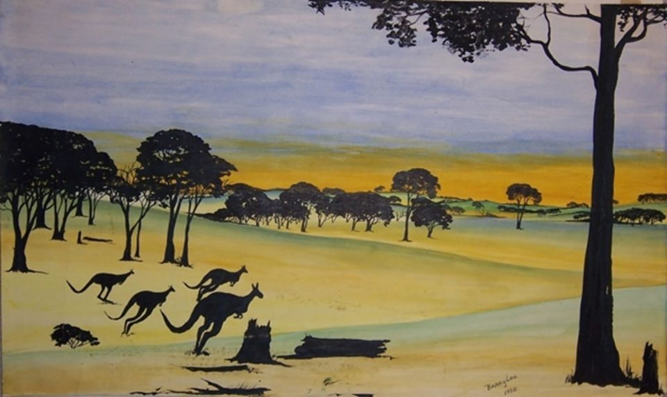 Bounding for Home by Barry Loo, a watercolour and black ink on paper, 30.2 x 50.5 cm, 1950. The Herbert Mayer Collection of Carrolup Artwork, John Curtin Gallery, Curtin University.
