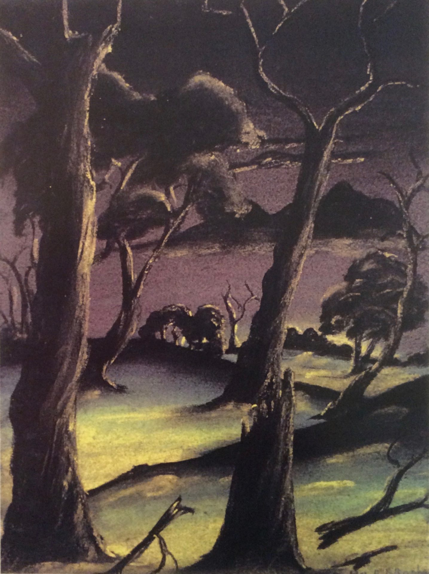 Lovely night by Arthur Bropho, pastel on paper, 18 x 24cm, c.1948. Noel & Lily White Collection, Berndt Museum of Anthropology. [WU7566]