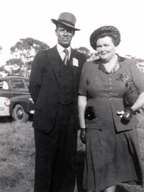 Noel and Lily White attending the Katanning Agricultural Show in November 1949. Noel & Lily White Collection.