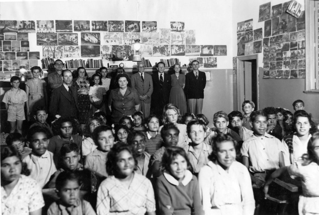 The children of Carrolup in their schoolroom with the White family and visitors from Katanning. Photographer: Noelene White, late 1948 or early 1949. Noel & Lily White Collection.