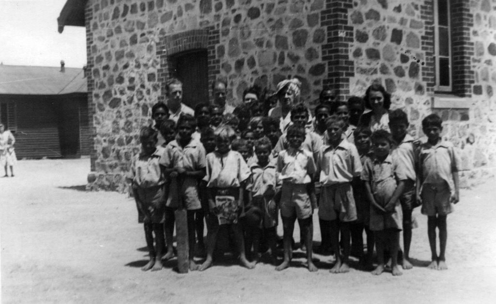 Carrolup boys with teachers Mr Ingram (left rear) and Noel and Lily White. Photographer: Vera Hack, January 1950. Noel & Lily White Collection.