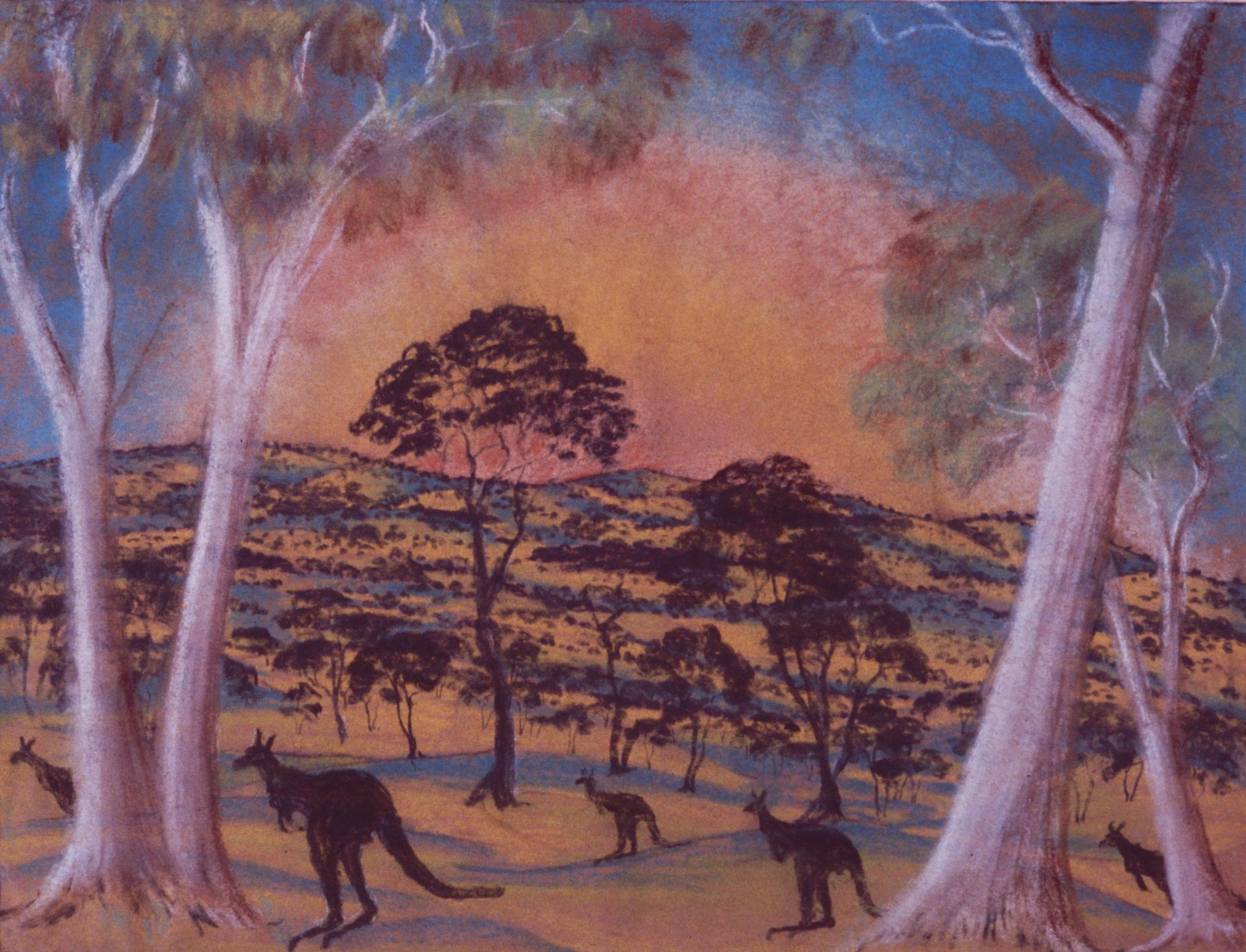 Landscape by Parnell Dempster, pastel on paper, 29 x 37cm, c.1948. Stan, Melvie and Gael Phillips Collection, Berndt Museum of Anthropology. [WU7303]