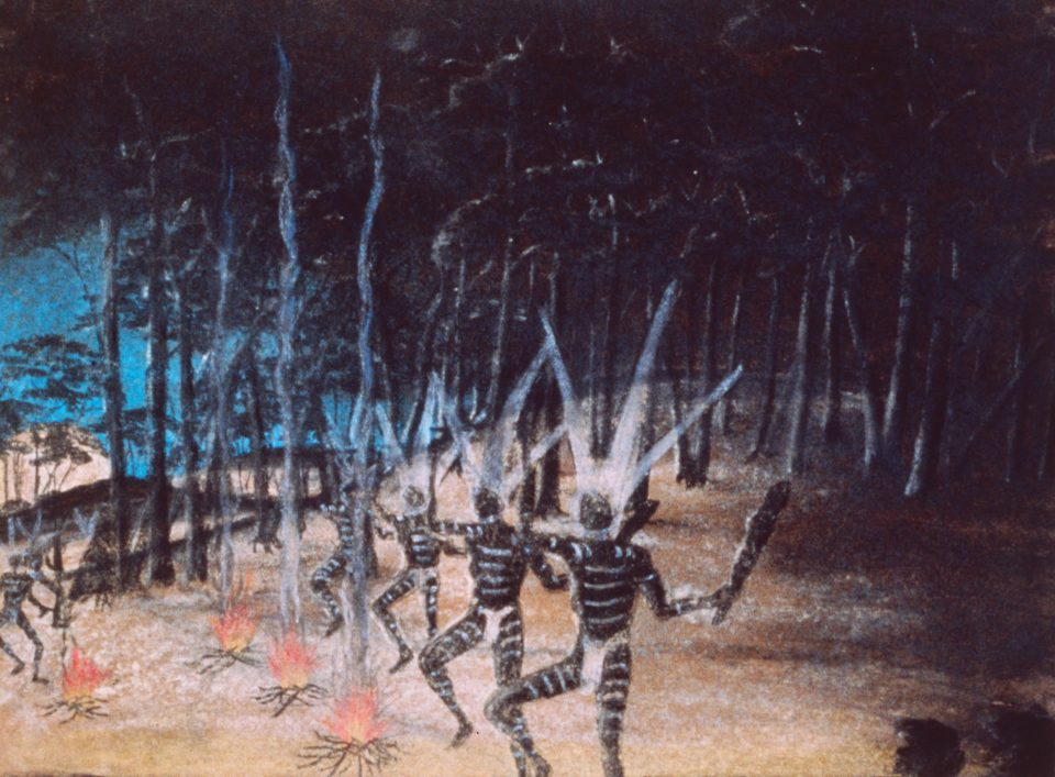 Dancing figures by Reynold Hart, pastel on paper, 29 x 38cm, 1949. Stan, Melvie and Gael Phillips Collection, Berndt Museum of Anthropology. [WU7316]