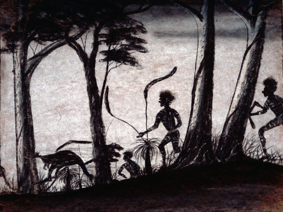 Hunters by Revel Cooper, pastel on paper, 29 x 38cm, c.1948. Stan, Melvie and Gael Phillips Collection, 1947 – 65, Berndt Museum of Anthropology. [WU7304]