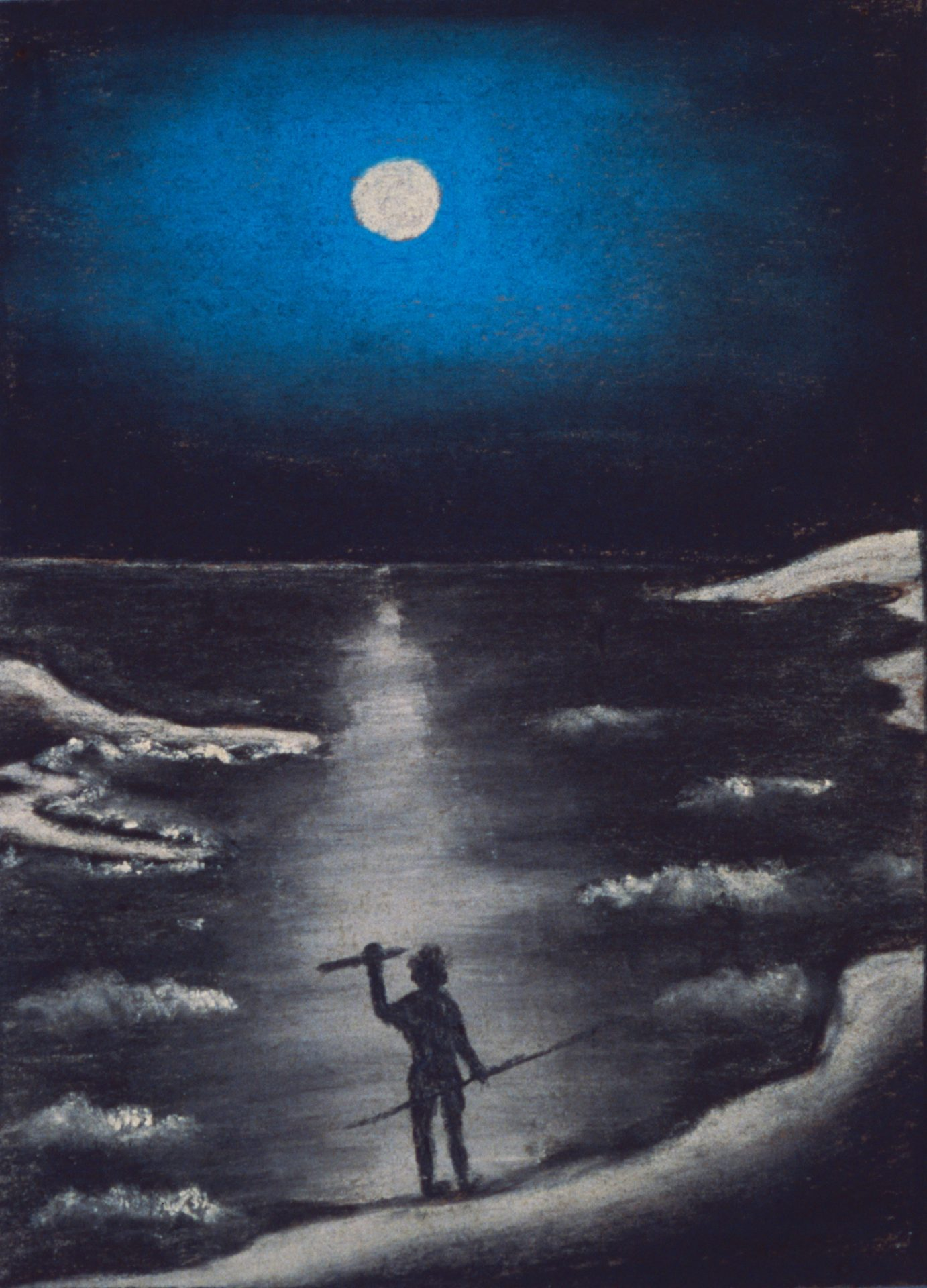 Moonlit coast by Parnell Dempster, pastel on paper, 25 x 19cm, c.1949. P. Jakes Collection, 1949, Berndt Museum of Anthropology. [WU5983]
