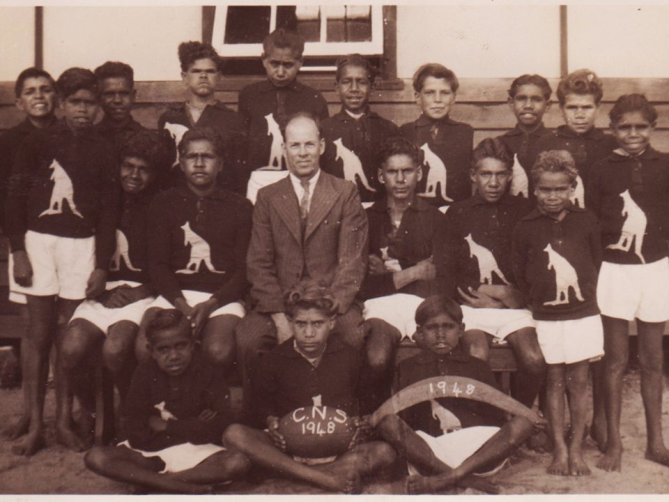 The 1948 Carrolup School football team with their teacher, Noel White.