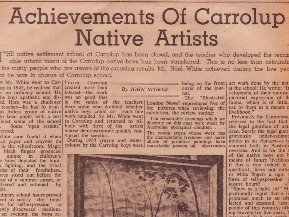 Article by John Stokes about the achievements of the Aboriginal child artists of Carrolup which appeared in The West Australian on the 24th February, 1951.