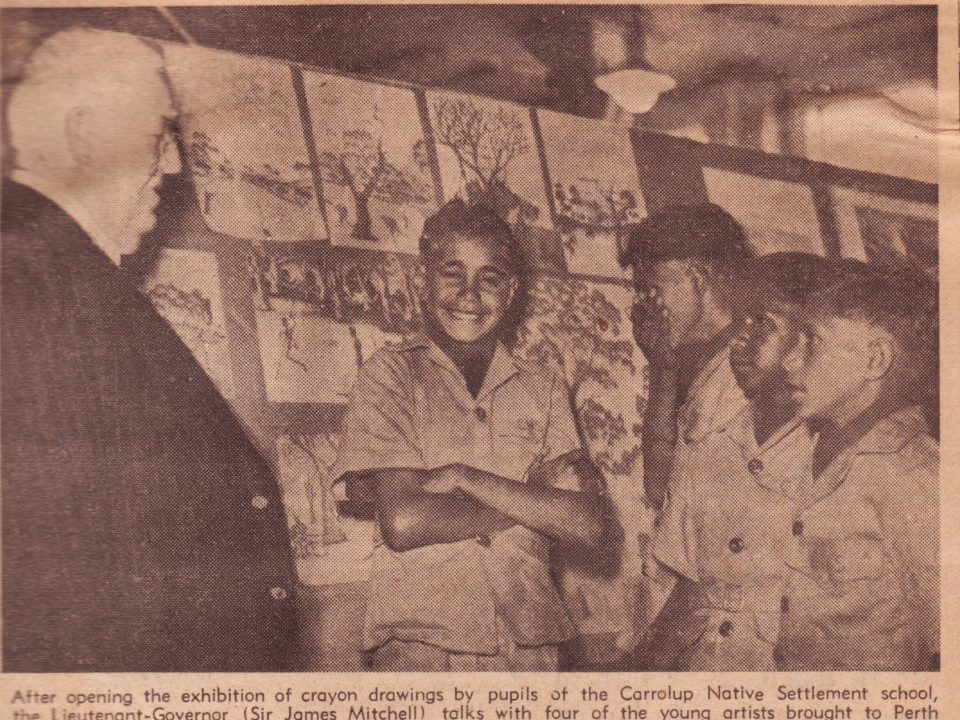 Exhibition of Carrolup art at Boans department store, The West Australian , 23rd October 1947. The boys from left to right are Claude Kelly, Barry Loo, Reynold Hart and Parnell Dempster. Noel & Lily White Collection.