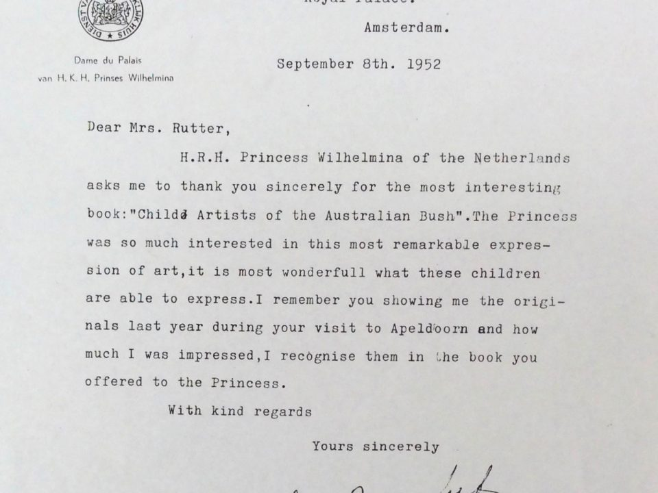 Letter from Baroness de Beaufort, on behalf of Queen Wilhelmina, to Mrs Rutter. Noel & Lily White Collection.