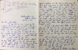 Letter from Margaret Edenburg (née Rutter) to Mr and Mrs White, 25th June 1950.