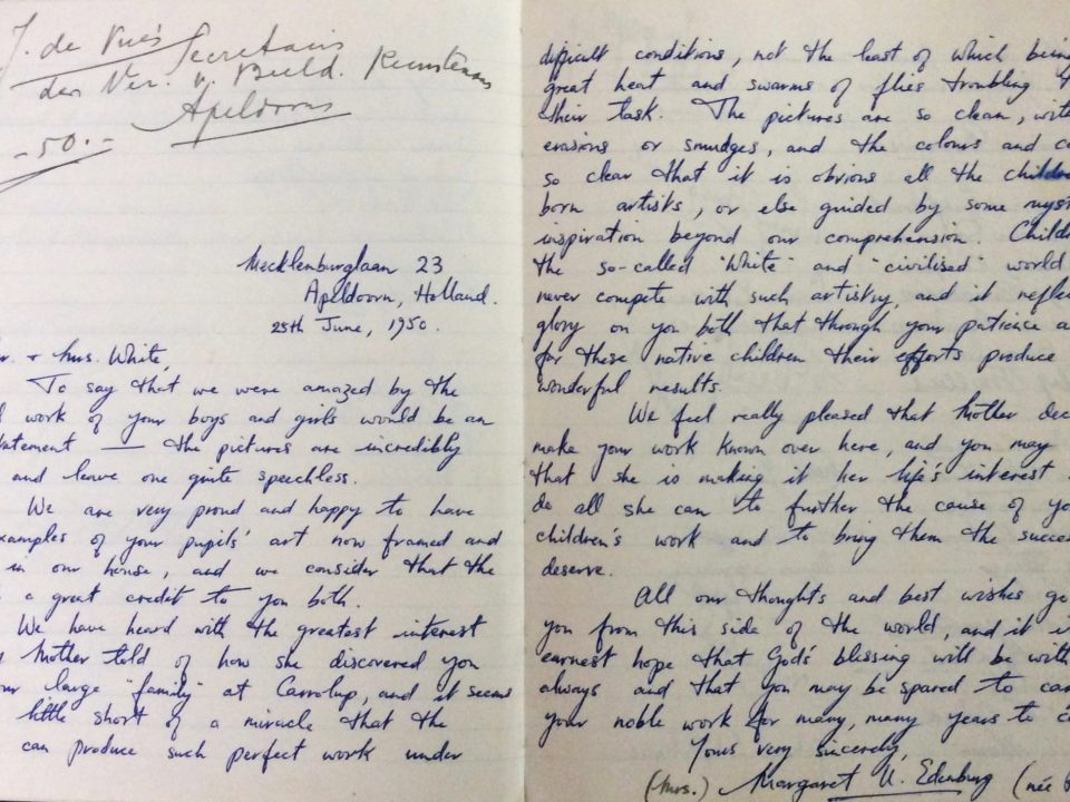 Letter from Margaret Edenburg (née Rutter) to Mr and Mrs White, 25th June 1950.