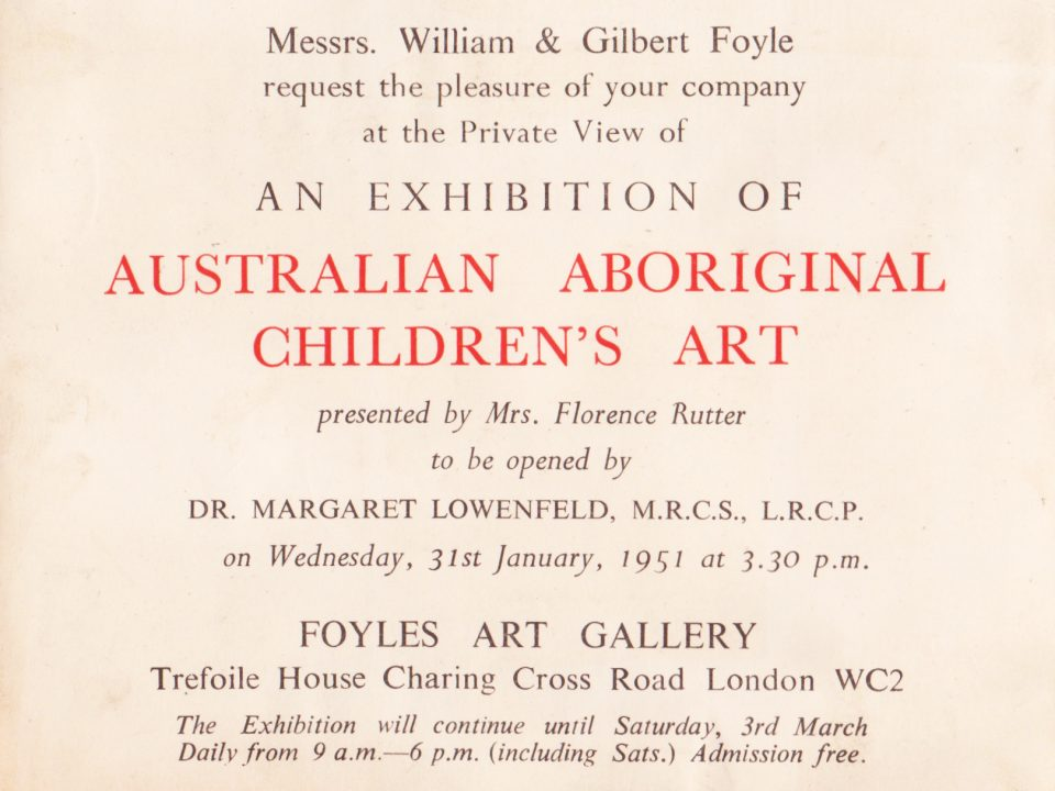Invitation to an Exhibition of the Carrolup children's art held at Foyles Art Gallery in London, 31st January 1951. Noel & Lily White Collection.