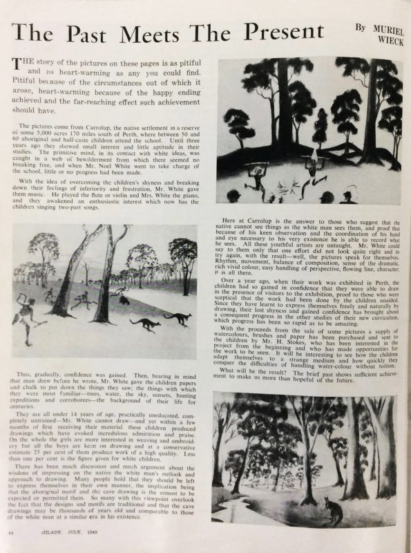 Page of the Milady article by Muriel Wieck that inspired Mrs Rutter to visit Carrolup, July 1949. Description of life at Carrolup by Revel Cooper, 1960. Mary Durack Miller Collection, Battye Library of Western Australian History.