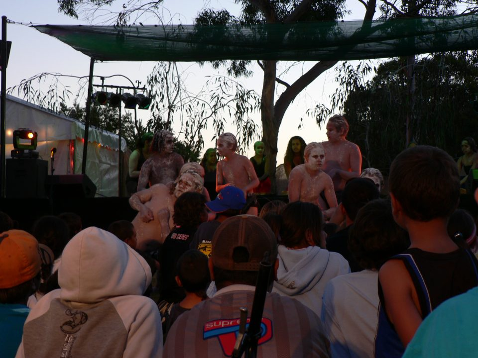 Katanning school children dance at Official Opening, Katanning of the 'Koorah Coolingah: Children Long Ago' exhibition, 24th February 2006. Berndt Museum of Anthropology, The University of Western Australia.