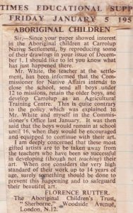 Letter by Mrs Rutter to The Times Educational Supplement , 5th January 1951. Noel & Lily White Collection.