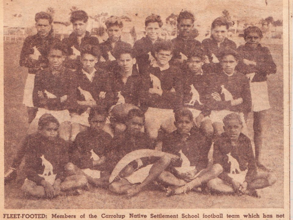 The 1949 Carrolup Native Settlement School football team that won two football games in Perth in September 1949. They were 'Never Ever Beaten'. The West Australian 1st September 1949.