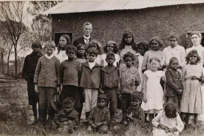 Children of Carrolup with the first superintendent Mr W. J. Freyer. He was forced to resign in 1918 for chaining one of the young girls by her neck to a bed as a punishment.