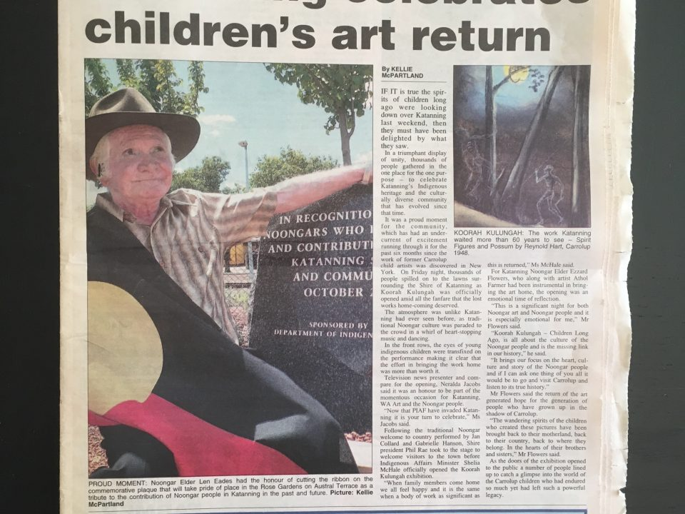 'Katanning celebrates children's art return' article in the Great Southern Herald, March 1st, 2006. [Please click to see the full image]