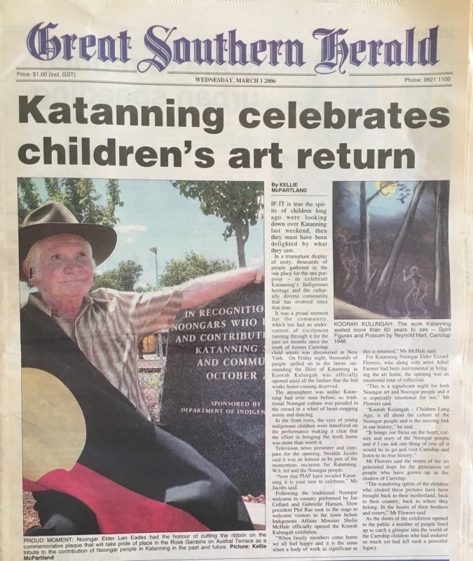 'Katanning celebrates children's art return' article in the Great Southern Herald, March 1st, 2006.