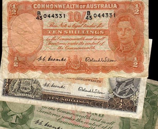 Pre-decimal Australian bank notes, Melbourne Mint, 1949.