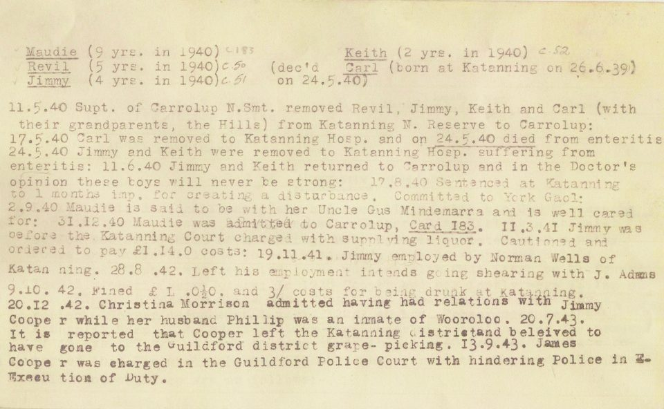 Department of Native Affairs file on James Cooper, father of Carrolup artist Revel Cooper (p. 2).
