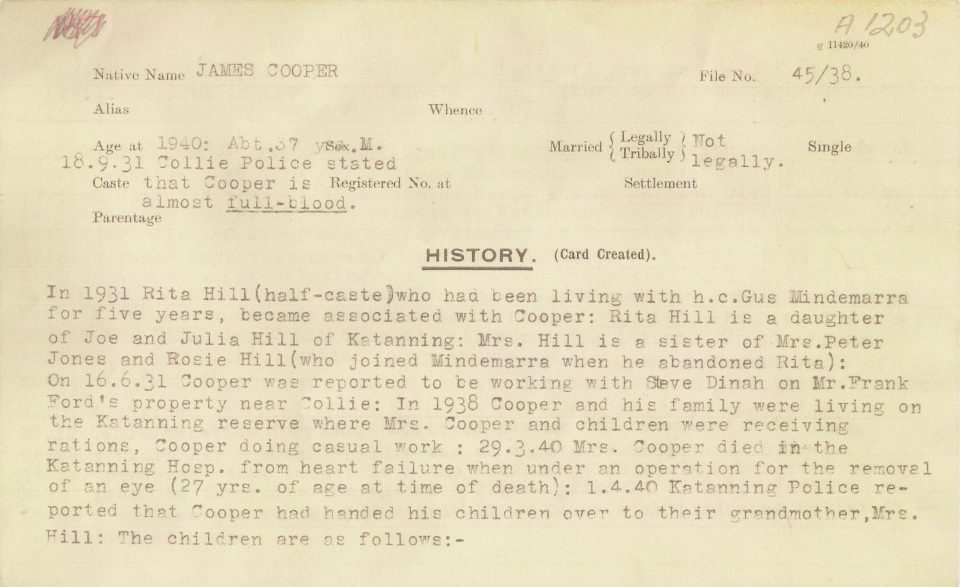 Department of Native Affairs file on James Cooper, father of Carrolup artist Revel Cooper (p. 1).